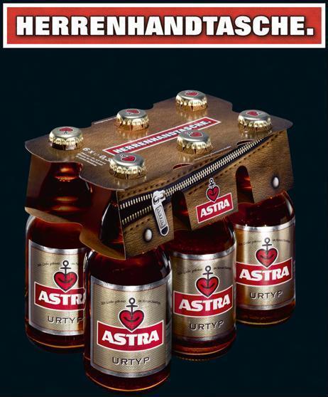Astra Herrenhandtasche, 6 mal Astra im Träger